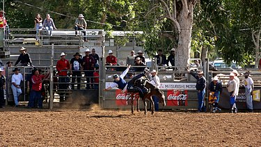 Rodeos (here at the annual fair of Bourail) are part of Caldoche culture. Rodeo cheval.JPG