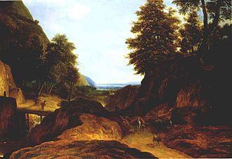 Roelant Roghman - Valley with travellers.