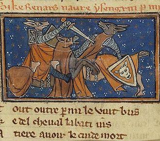 Reynard the Fox - Illumination from a manuscript of the Roman de Renart, end of the 13th century