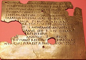 Imperial Roman army - Surviving fragment of a Roman military diploma found at Carnuntum in the province of Noricum (Austria)
