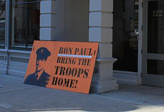 Ron Paul presidential campaign, 2012 - Ron Paul support sign on day of the Michigan presidential primary, Ann Arbor