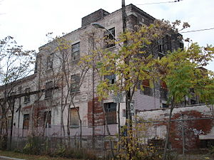 Roncesvalles, Toronto - Former linseed oil factory, and future Wabash Recreational Centre on Wabash Ave.