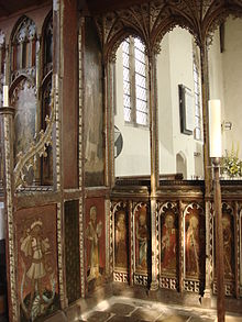 Rood screen with painted saints