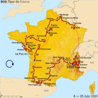 1999 Tour de France - Route of the 1999 Tour de France