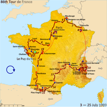 Route of the 1999 Tour de France