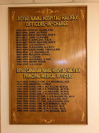 Royal Naval Dockyard, Halifax - Royal Naval Hospital Halifax – Officers-in-Charge, Health Centre, CFB Halifax, Nova Scotia