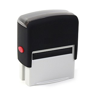 Rubber stamp tool that is used in office and administration; craft in which some type of ink made of dye or pigment is applied to an image or pattern that has been carved, molded, laser engraved or vulcanized, onto a sheet of rubber