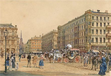 Vienna's Ringstrasse and the State Opera in around 1870 Rudolf von Alt-Opera Crossroads in Vienna.jpg