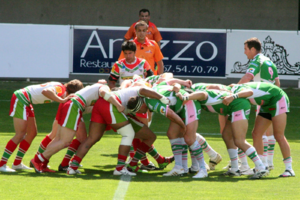 Scrum (rugby) - A rugby league scrum