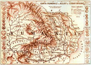 National awakening of Romania - România seen by Cezar Bolliac, a leader of 1848 Wallachian revolution. Map dated from 1855.