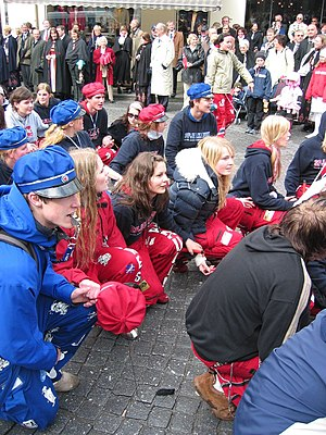 Russefeiring - The russ of 2005 at 17th of May parade in Oslo, Norway