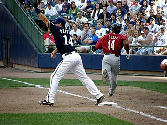 Russell Branyan - Branyan covers first base on June 1, 2008 against the Astros.