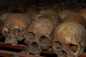 Skulls of victims from the Rwandan Genocide fo...