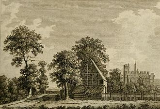 Rye House Plot - Rye House in an engraving from 1777. The gate across the road signifies the toll payable for use of the route. There were miscellaneous buildings on the large site, to the right of the road. The crenellated brick gatehouse dates from the 15th century.
