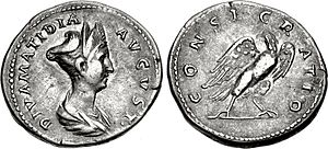 Salonia Matidia - Denarius depicting Matidia; the reverse, depicting an eagle with the legend CONSECRATIO, commemorates her consecration as a diva