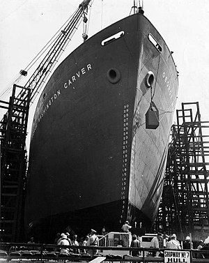 SS George Washington Carver slides down the shipway after launching on 7 May 1943