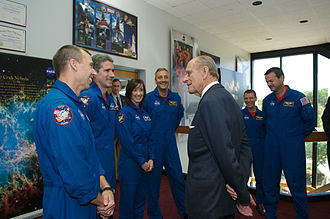 STS-125 - Prince Philip of the United Kingdom visited Goddard Space Flight Center in May 2007 and met with the crew of STS-125.