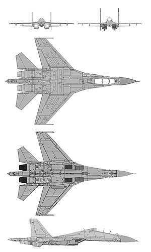 Sukhoi Su-30MKK - Schematic diagram of Sukhoi SU-30MK