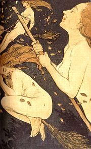 tres mujeres desnudas con el pelo suelto, vuelan en escobas
