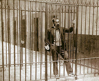 Political prisoner - Basque Nationalist Party (PNV) founder Sabino Arana in Larrinaga prison, Bilbao, 1895. He'd defended independence for Cuba.