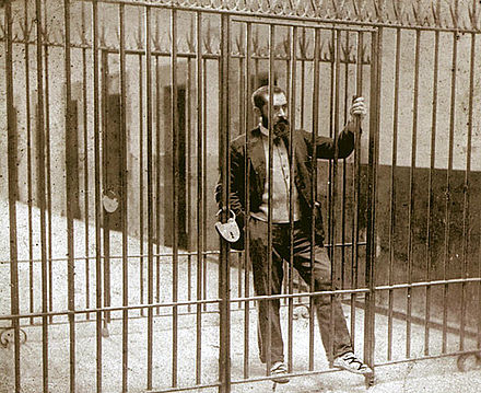 Basque Nationalist Party (PNV) founder Sabino Arana in Larrinaga prison, Bilbao, 1895. He'd defended independence for Cuba. Sabino Arana in Larrinaga prison, 1895.jpg