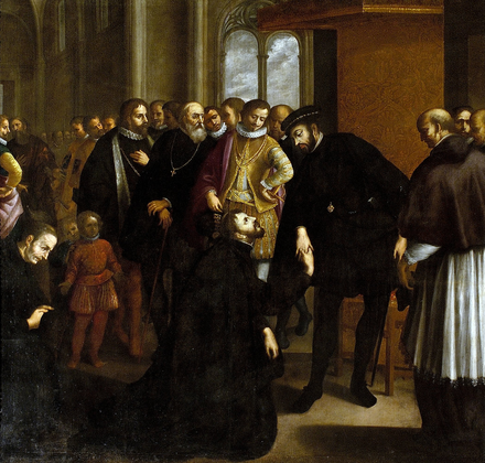 Francisco Xavier asking John III of Portugal for an expedition Saint Francis Xavier taking leave of King John III (1635) - Jose Avelar Rebelo.png