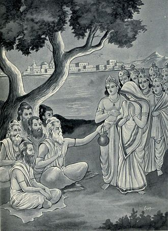 Mausala Parva - Mausala parva describes the event 35 years after the Kurukshetra war has ended. These events are anticipated and explained by sages to Krishna's son Samba, who dressed as a woman mocks the Rishis (shown).