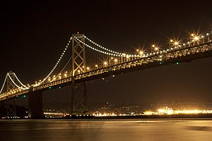 San Francisco–Oakland Bay Bridge - The illuminated bridge as seen from the Embarcadero (San Francisco).