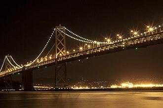 San Francisco–Oakland Bay Bridge - The illuminated bridge as seen from the Embarcadero (San Francisco).