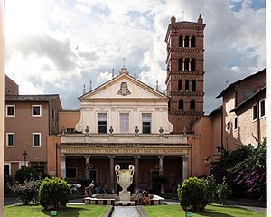 Santa Cecilia in Trastevere - Façade of Santa Cecilia, a 1725 project by Ferdinando Fuga, with the 12th century belltower.