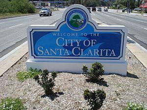Santa Clarita, California - The Santa Clarita welcome sign in May 2010.