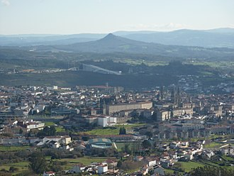 Christian pilgrimage - A partial view of Santiago de Compostela, with the Pico Sacro in the background