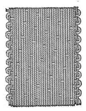 Weaving - A satin weave, common for silk, each warp thread floats over 16 weft threads.