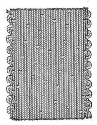 Warp and weft - A satin weave, common for silk; each warp thread floats over 16 weft threads.