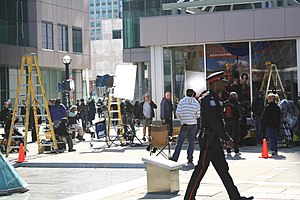 Saw 3D - A scene being constructed at the Metro Hall of Toronto in April 2010.