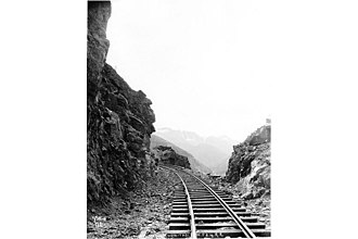 White Pass and Yukon Route - Rock cut section near White Pass ca. 1899