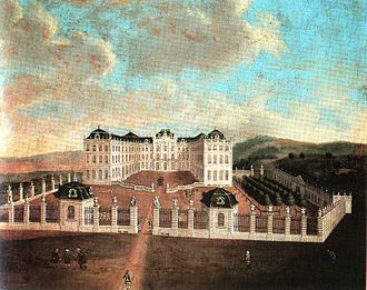 Saarbrücken Castle - Painting of the castle after the completion of the new buildings under Friedrich Joachim Stengel
