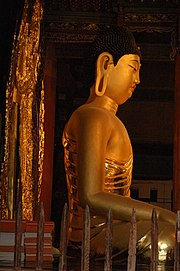 Seated clay buddha statue of Buseoksa Temple