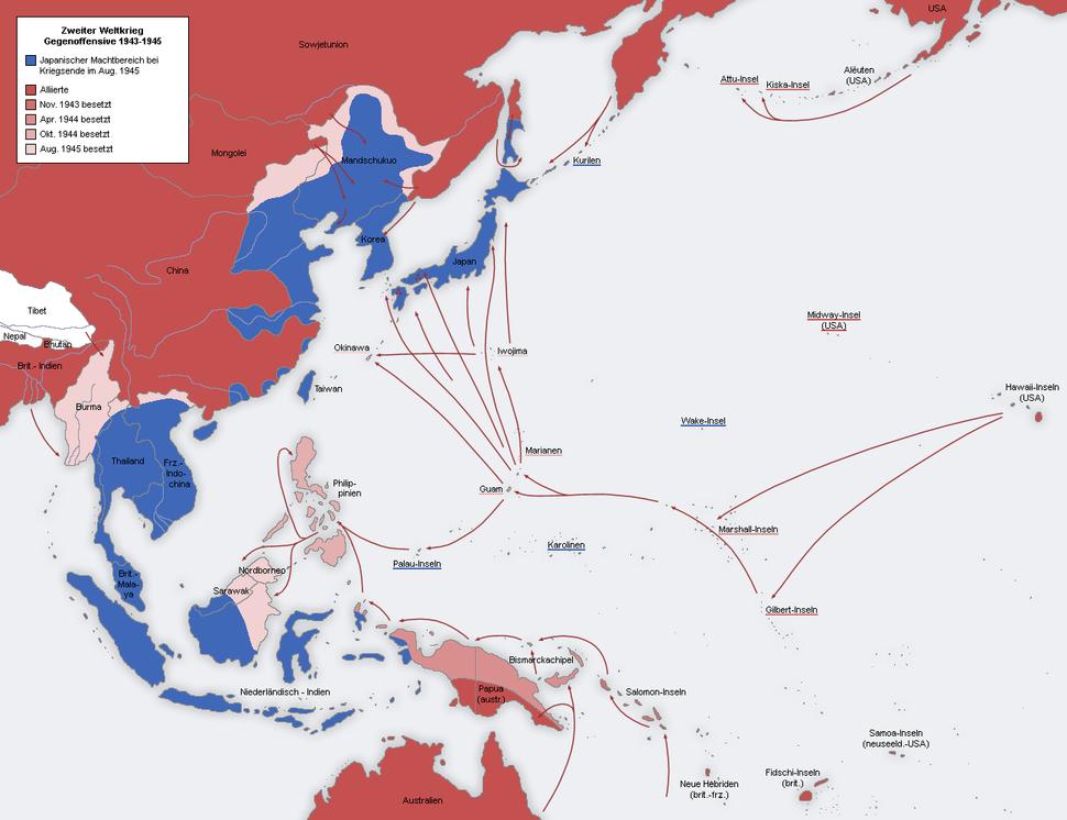 Second world war asia 1943-1945 map de