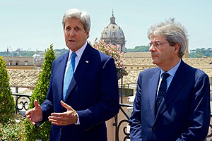 Paolo Gentiloni - Gentiloni with U.S. Secretary of State John Kerry in Rome, June 2016.