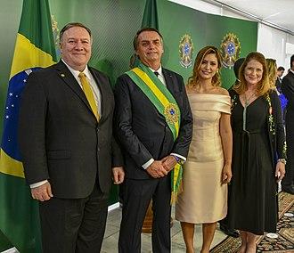 Brazilian presidential inauguration - Image: Secretary Pompeo and Mrs. Pompeo Pose for a Photograph With Brazilian President Bolsonaro and First Lady Bolsonaro in Brazil (31619369587)