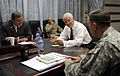 Secretary of Defense Robert M. Gates, center right, talks with U.S. Ambassador to Afghanistan Karl Eikenberry, left, and U.S. Army Gen. David Petraeus, right, commander of International Security Assistance Force 100902-F-DQ383-006.jpg