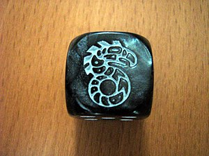 Shadowrun - A 6-sided die with the Shadowrun symbol in place of the 6.