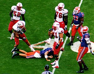 Shawne Merriman -  Shawne Merriman celebrates a sack of Clemson QB Charlie Whitehurst during a 2004 game.