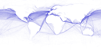 Major ocean trade routes in the world includes the northern Indian Ocean. Shipping routes.png