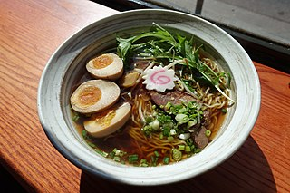 <i>Ramen</i> Japanese dish of wheat noodles in a meat or fish broth