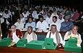 Shri Rishang Keishing, M.P. (Rajya Sabha); Shri Resham Lal Jangde; Shri Kandala Subrahmanyam; and Shri Kanety Mohana Rao, all Members of the First Lok Sabha, are seen after felicitations.jpg
