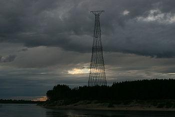 Shukhov tower on the Oka River in the suburb of Nizhny Novgorod