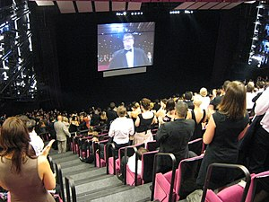 Michael Moore - Michael Moore at the 2007 Cannes Film Festival receiving a standing ovation for Sicko