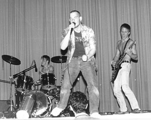 Siege (band) - Siege at their high school's 'Battle of the Bands' in 1984. Rob Williams, Kevin Mahoney, and Kurt Habelt are shown left to right.